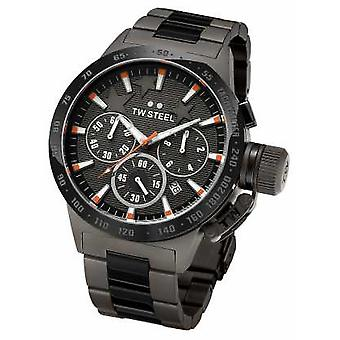 TW Steel Mens Canteen Dark Titanium Black Chronograph TW313 Watch
