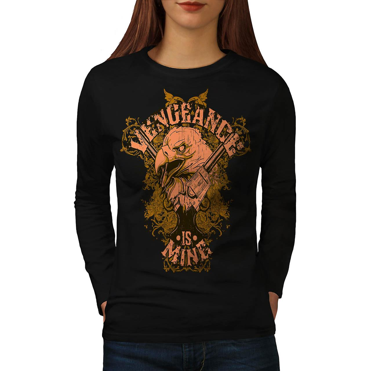 Vengeange Is Mine USA Eagle Prey Women Black Long Sleeve T-shirt | Wellcoda
