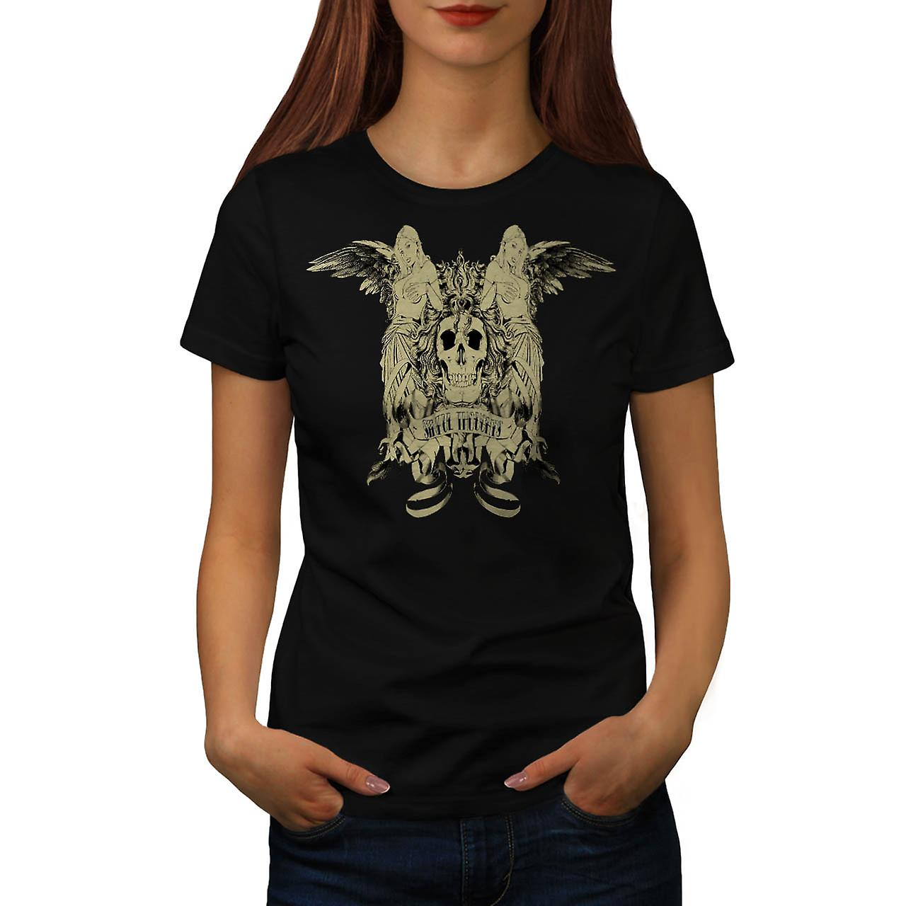 Sinful Thoughts City Skull Angel Women Black T-shirt | Wellcoda
