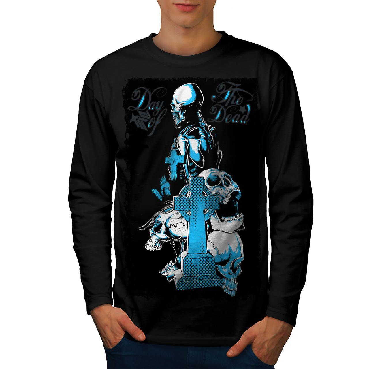 Dead Day Grave Yard Skull Tomb Men Black Long Sleeve T-shirt | Wellcoda