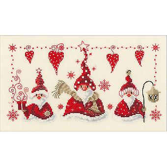 Cheerful Santas On Aida Counted Cross Stitch Kit-11.6