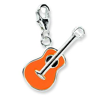 Sterling Silver Rhodium-plated Fancy Lobster Closure 3-d Enameled Guitar With Lobster Clasp Charm - Measures 24x11mm