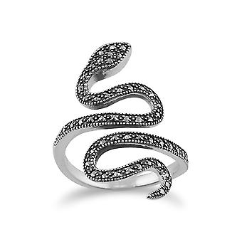Gemondo 925 Sterling Silver 0.46ct Marcasite Art Nouveau Snake Ring