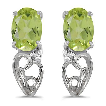 14k witgoud ovale peridoot en Diamond Earrings