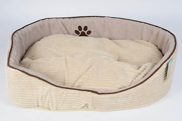 Round Pet Bed Soft Fabric Cream /Brown For Dog, Cat, Puppy Fleece Basket