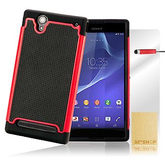 Shock proof case cover for Sony Xperia T2 Ultra + stylus - Red