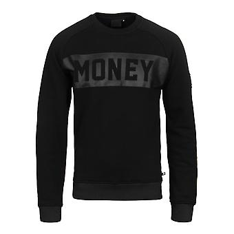 Money Punch Out Black Crew Neck Sweater