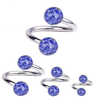 Torsion spirale Piercing titane 1,6 mm, Multi Crystal Ball bleu saphir | 8-12mm