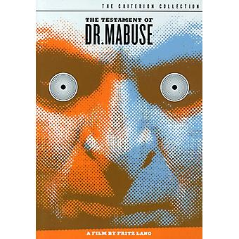 Testament du docteur Mabuse [DVD] USA import