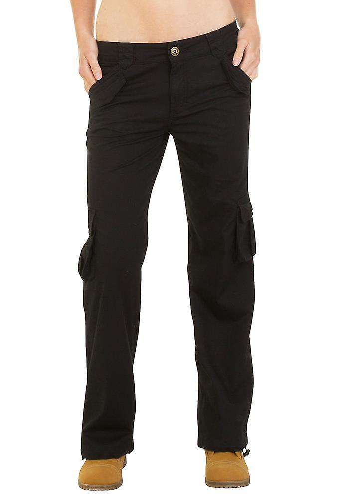 Wide Lightweight Cargo Trousers - Black
