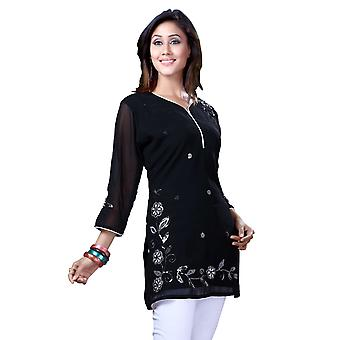 Black Georgette 3/4 sleeves Kurti/Tunic with white thread embroidery
