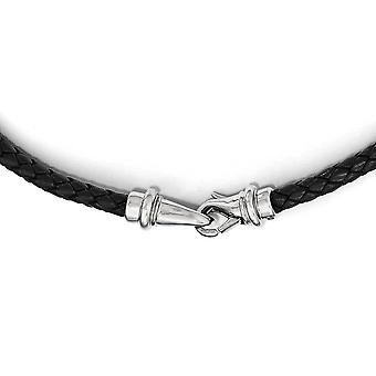 Stainless Steel Polished Woven Black Leather Necklace - Length: 16.25 to 19.5