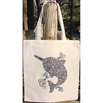 Stamped Canvas Tote To Color-Narwal 98105T
