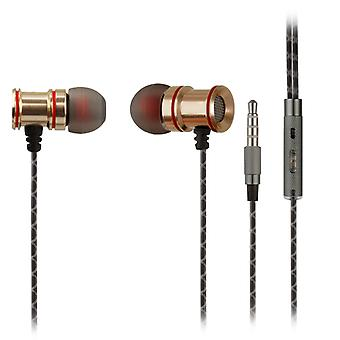 [REYTID] In-Ear hörlurar hörlurar - HD-ljud - djup bas med metall 1-knappen MIC för Apple iOS / Android - Smartphone Tablet Laptop Macbook - guld