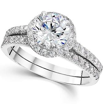 1 1 / 3ct Runde Diamanten Halo Verlobungsring Set 14K White Gold