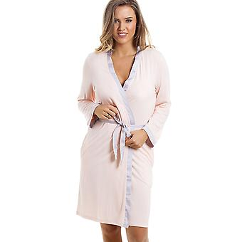 Camille Stylish Knee Length Long Sleeve Peach Dressing Gown