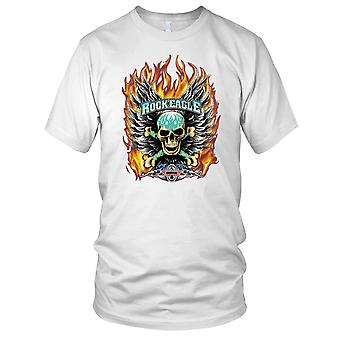 Biker Flaming Skull Motorcycle Ladies T Shirt