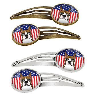 American Flag and Boxer Set of 4 Barrettes Hair Clips