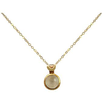 Gemshine - ladies - necklace - 925 Silver - gold plated - Moonstone - white - 10 mm