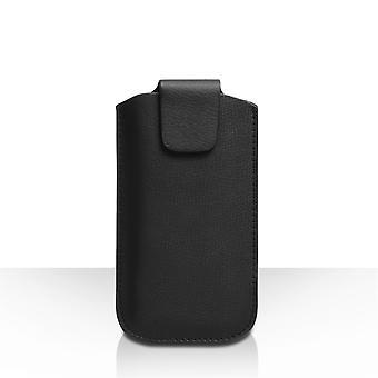 Caseflex Medium Textured Leather-Effect Phone Pouch - Black