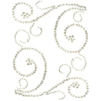 Want2Scrap Self-Adhesive Swirls Bling-White Pearls W2S75-7504