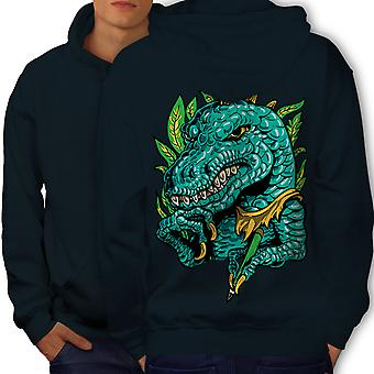 Cool Dinosaur Men NavyHoodie Back | Wellcoda
