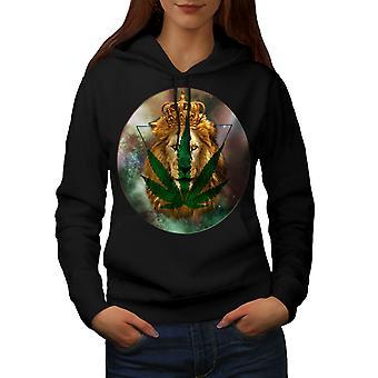 Lion King Moon Weed Women BlackHoodie | Wellcoda