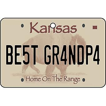 Kansas - Best Grandpa License Plate Car Air Freshener