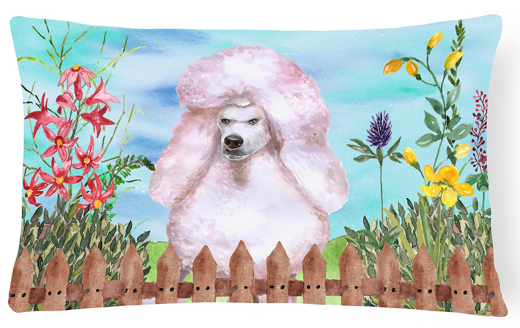 Poodle White Decorative Standard Canvas Pillow Fabric Spring 3cTlJFK1
