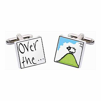 Over the Hill Cufflinks by Sonia Spencer, in Presentation Gift Box. Hand painted