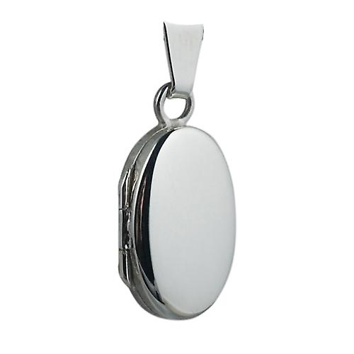 Silver 18x11mm plain oval Locket