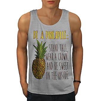 Pineapple Joke Men GreyTank Top | Wellcoda