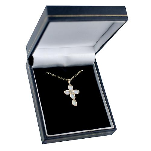 9ct Gold 25x16mm Cross set with Opals on a belcher chain