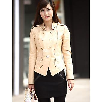 Ivory Sheep Skin Double Breasted Womens Leather Coat
