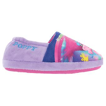 Girls DreamWorks Trolls Poppy Purple Elasticated Slipper UK Child Various Sizes