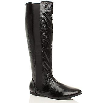 Ajvani kvinners lav hæl flatt rund tå zip ridning bredt strekk-kalv støvler