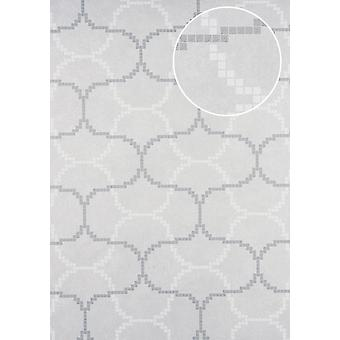 Graphic wallpaper ATLAS 5132-2 non-woven wallpaper imprinted with geometric forms shimmering ivory white perl perl mouse grey 7,035 m2