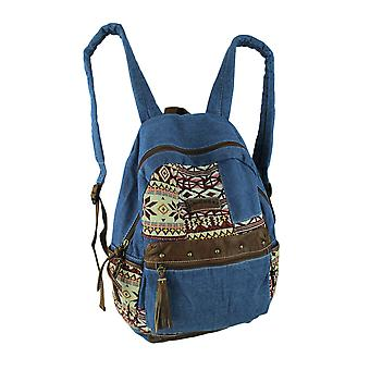 Unionbay Blue Denim Tribal Patches Boho Backpack