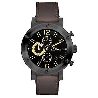 s.Oliver mäns wrist watch analoga quartz läder SO-15159-LCR