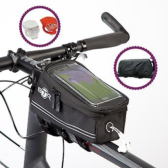 Btr Bicycle Frame Bike Phone Bag With Silicone Led Bike Lights
