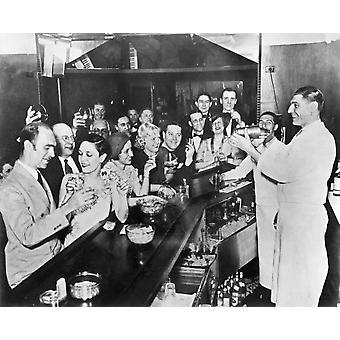Prohibition Repeal 1933 Na Scene At A Bar In Greenwich Village After The Repeal Of Prohibition 1933 Poster Print by Granger Collection