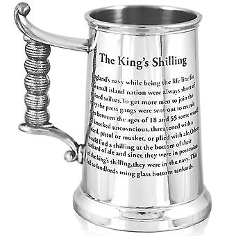King's Shilling Heavy Gauge Pewter Tankard - 1 Pint +