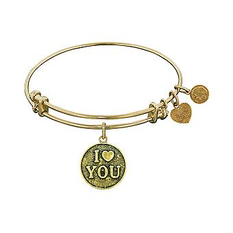 Stipple Finish Brass Love You Angelica Bangle Bracelet, 7.25