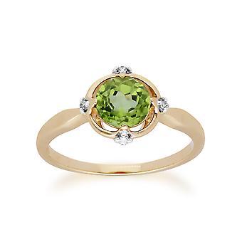 Gemondo 9ct żółte złoto Halo Peridot & diament okrągły pierścień tnący