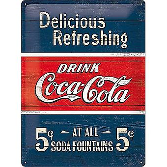Coca Cola Delicious Refreshing Large Embossed Steel Sign 400Mm X 300Mm