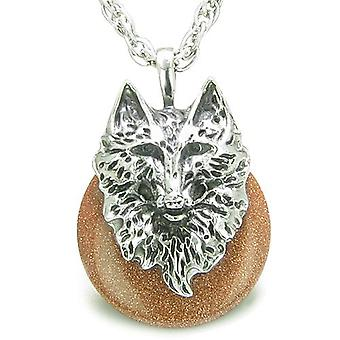 Amulet Wolf Head Courage Protection Powers Lucky Donut Gold Stone Pendant Necklace