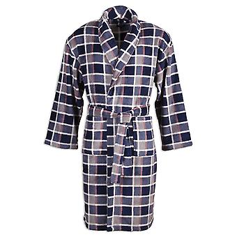 Camille Mens Supersoft Navy Grey & White Checkered Shawl Collar Bathrobe