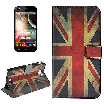 Cover cell phone case (flip cross) for mobile WIKO Darkmoon retro flag England