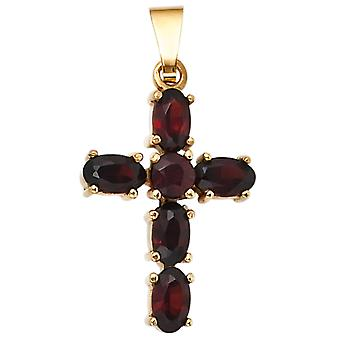Garnet jewelry pendant garnet red pendant cross 375 Gold Yellow Gold 6 grenade