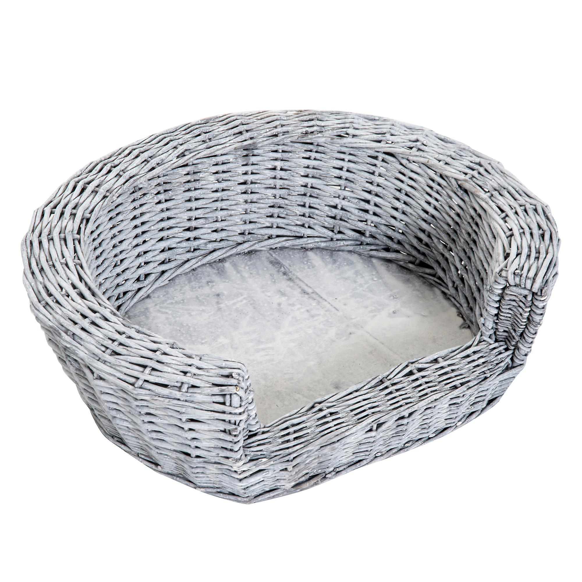 PawHut Elevated Dog Cat Couch Pet Basket Sofa Bed Rasied  Puppy Wicker Willow Rattan w/Cushion Grey